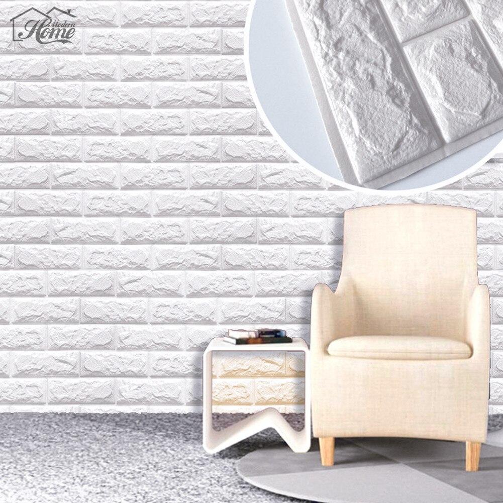 10PCS PE Foam 3D Wall Stickers Safty Home Decor Waterproof Wallpaper DIY  Wall Decor Brick Living Room Kids Bedroom Decorative
