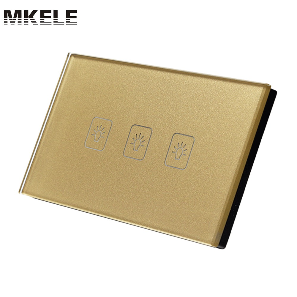 Touch Switch 3 Gang 2 Way US Standard Gold Touch Screen wall switch wall socket for lamp touch switch 3 gang 1 way uk standard gold touch screen wall switch wall socket for lamp