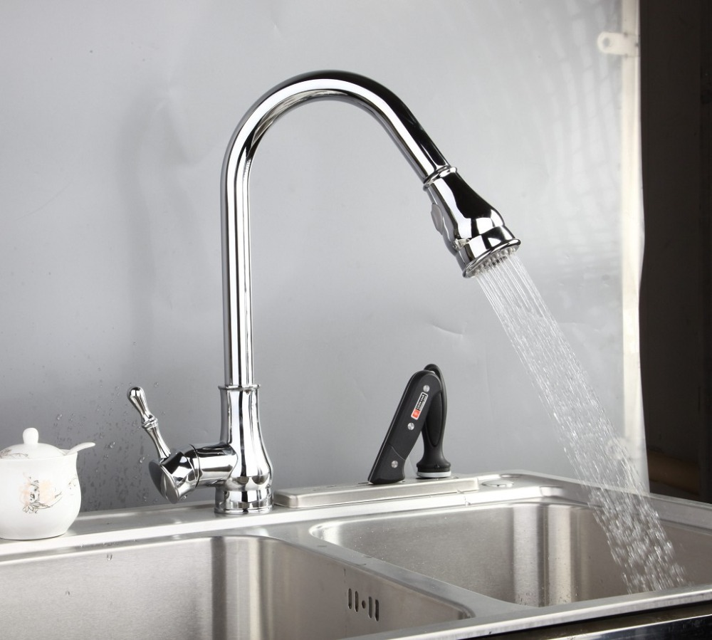 Yanksmart Brass Tap Mixer Chrome Polished Faucet torneira Rotatable Pull Out Kitchen Faucet In Home And