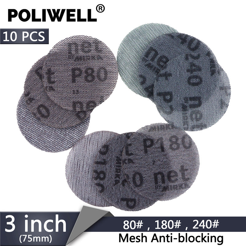 POLIWELL 10PCS 3/4 Inch Mesh Abrasive Paper Dust Free Sanding Discs Car Repair Round Net Sandpaper Anti-blocking 80 180 240 Grit