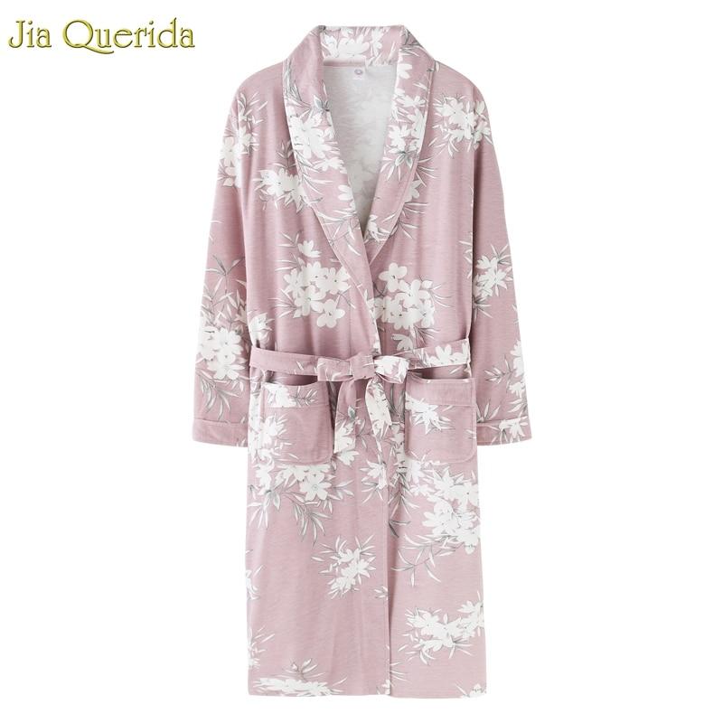 J&Q New Arrival Bathrobe Ladies Gown Nightie Robe Plus Size Cotton Pyjamas Long Sleeves Floral Sleepwear Pink Robes For Female