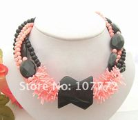 NEW !! Black Onyx&Pink Coral Necklace Free+shippment