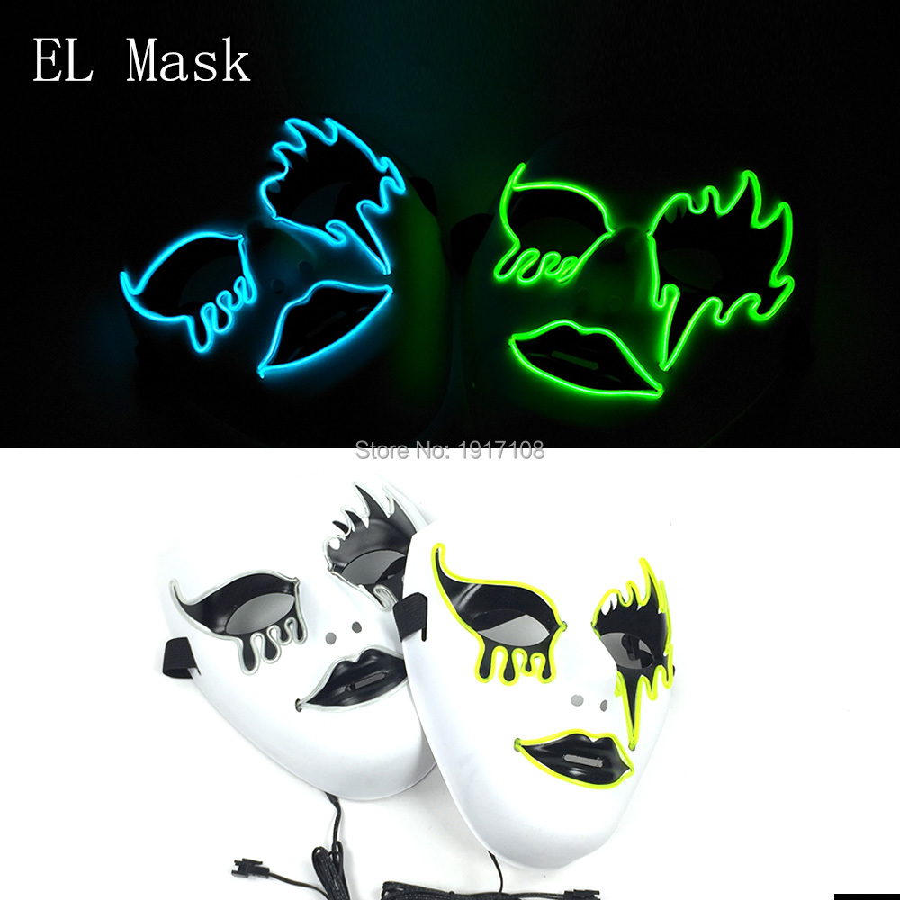 10 pcs Party Masks 10 color select Glowing LED Masks Cool Halloween Masks DJ Birthday Cosplay Death Grimace for Party Decoration