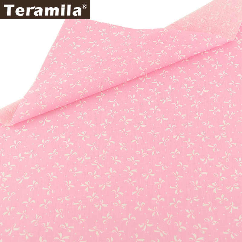 Teramila Cotton Plain Fabric Bow Designs Pink Bottom Quilting Patchwork Tissue Textile DIY For Beginner Scrapbooking Tissue