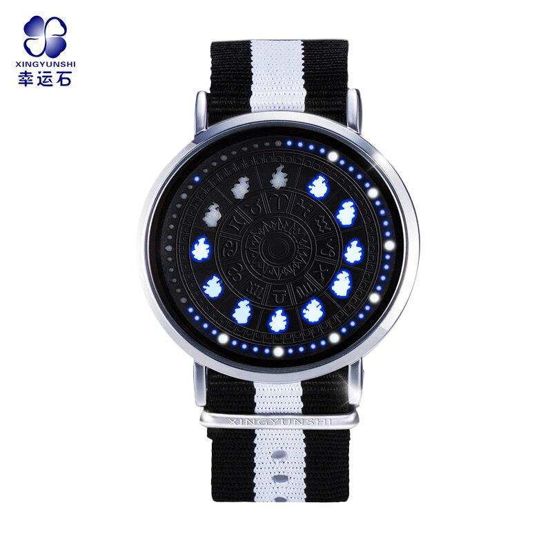 Reloj de pantalla táctil LED constelación de Saint Seiya 12 signos Zodiac tema relojes de pulsera impermeables Virgo Taurus Leo regalo de Navidad