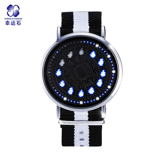 Saint Seiya Constellation LED Touch Screen Watch 12 Zodiac Signs Theme Waterproof Wrist Watches Virgo Taurus Leo Christmas Gift