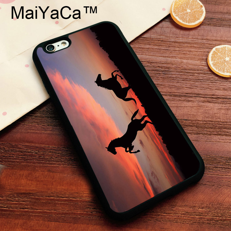 MaiYaCa Beautiful Horse Sunset Siloutette Print Case For iPhone7 Soft TOU Cover For iPhone 7 Fundas Capa Back Cover