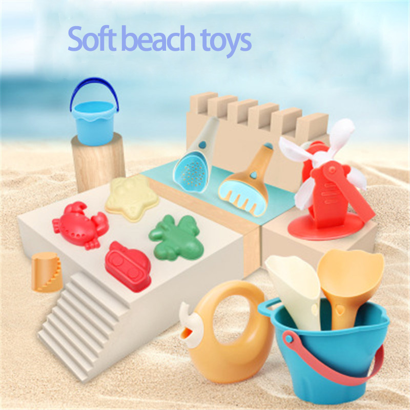 7Pcs Kids Outdoor Toys Soft Rubber Beach Game Toys Set Shovels Rake Hourglass Bucket Animals Playset Role Play Toy Summer Hot