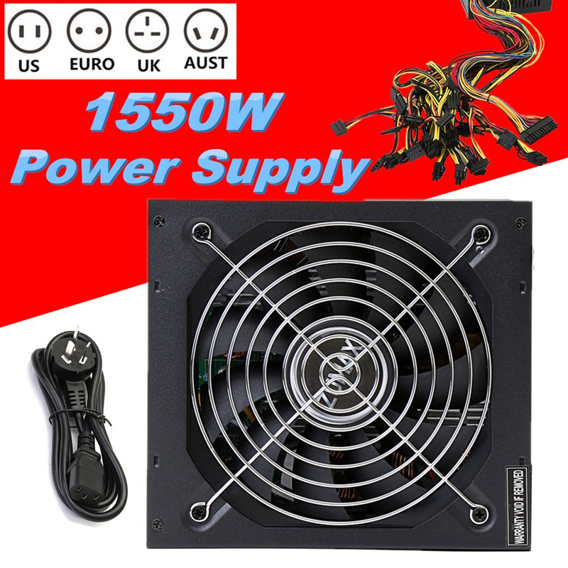 1550W 220V Modular Power Supply For 6 GPU Eth Rig Ethereum Miner 90 Plus Gold New Computer Power For BTC