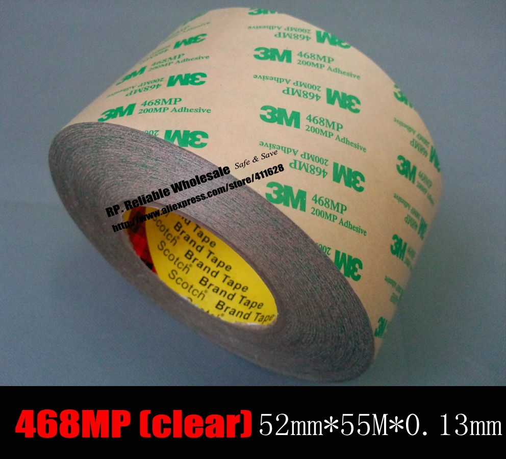 (52mm *55 Meters *0.13mm)  3M 468MP Double Sided Adhesive Transfer Tape for Metal Plastic PVC Rubber, Electric Keyboard Screen 10m super strong waterproof self adhesive double sided foam tape for car trim scotch