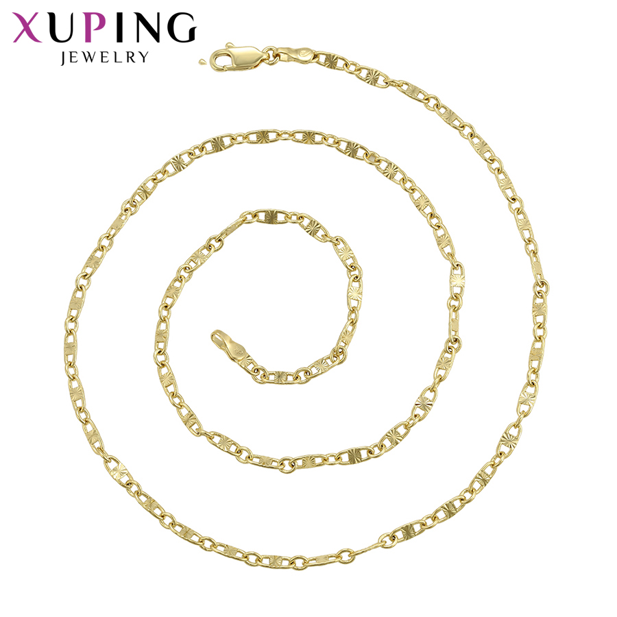 11.11 Deals Xuping Jewelry Light Yellow Gold-color Plated Necklace Simple Casual Style for Women Thanksgiving Gifts S105,6-45278