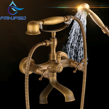 Античная латунь водопад 2 Ручки Широкое кран ванной Банный роман смеситель для душа холодной и горячей водой краны