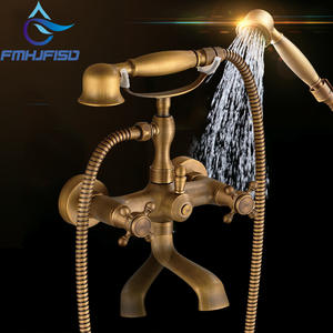 Antique Brass Waterfall 2 Handle Widespread Bathtub Faucet Roman Bath Shower Faucet Cold and Hot Water Taps