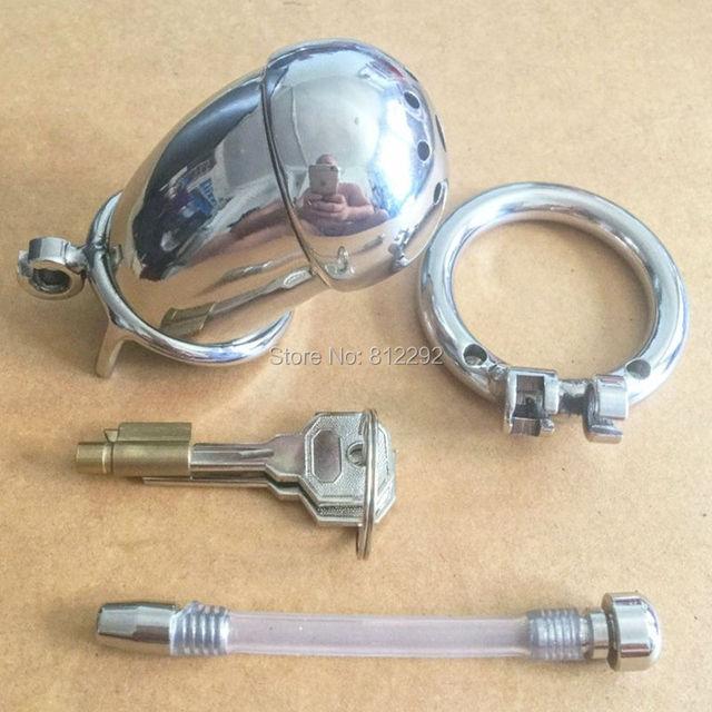 Dispositivo de Castidade masculino com cateter cateter penis bloqueio de Metal em aço inoxidável Cozinhar Anel Cinto de Castidade Gaiola uretral pênis dos homens