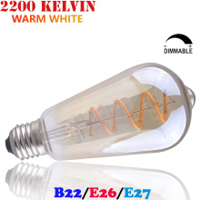 110V 220V Dimmable LED Vintage Bulb Warm White ST64 Amber Glass Curved LED Sprial Filament Edison/Bayonet Light Bulb E26 E27 B22