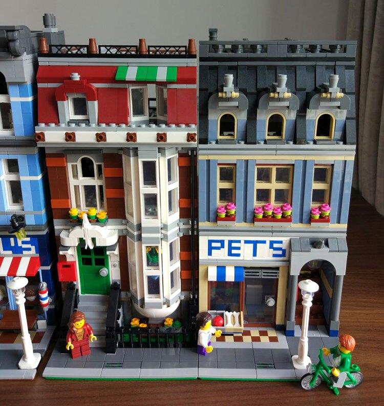 Oyuncaklar ve Hobi Ürünleri'ten Bloklar'de 15009 Streetview serisi Pet Mağaza Süpermarket Model Şehir Yapı Taşları Tuğla Eğitici Oyuncaklar Doğum Günü hediyeleri 10218'da  Grup 1