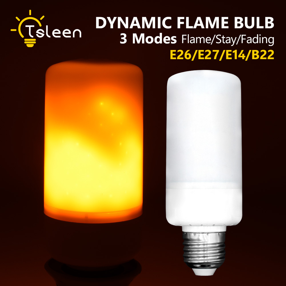 TSLEEN Cheap!New E27 E26 E14 B22 LED Lamp Flame Effect Fire Light Bulbs 99LEDS Flickering Emulation Flame Lights 1800K AC85-265V