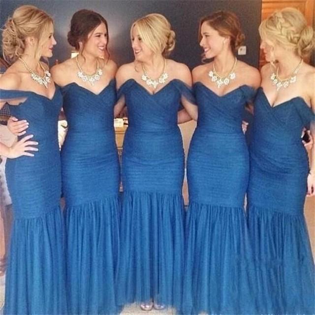 571bdebcd0 Azul marino Vestido De dama largo Organza plisado del amor sin respaldo  piso longitud dama De