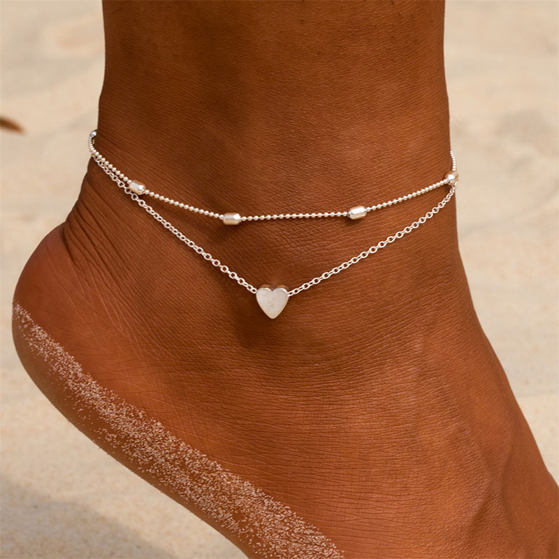 Fashion Simple Anklet Female Love Ankle Transfer Beads Anti-Friction Anklet Fashion Women Double-Layer Exquisite Beach Feet
