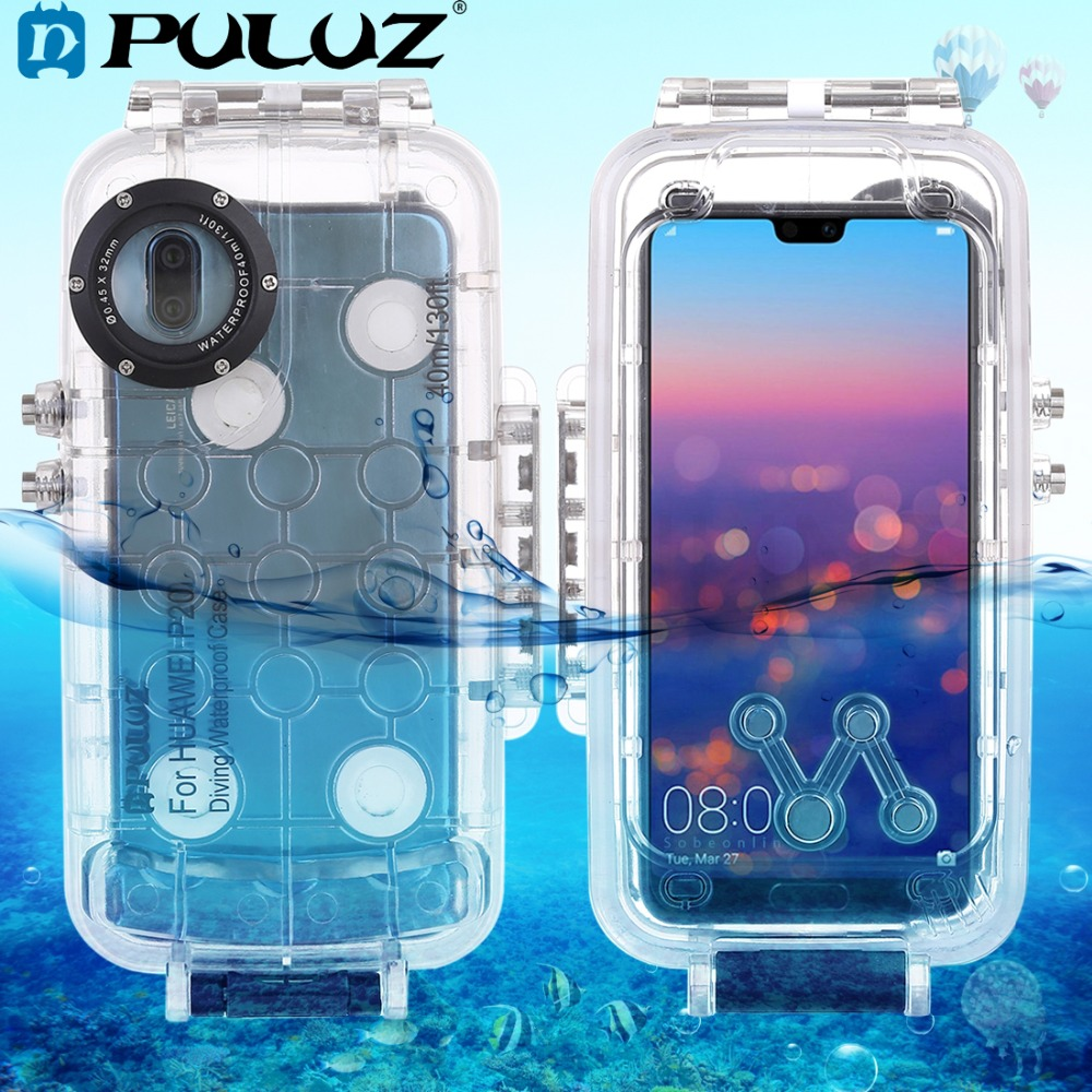 PULUZ 40m 130ft Underwater Diving Phone Protective Case for Huawei P20 P20 Pro Surfing Swimming Snorkeling