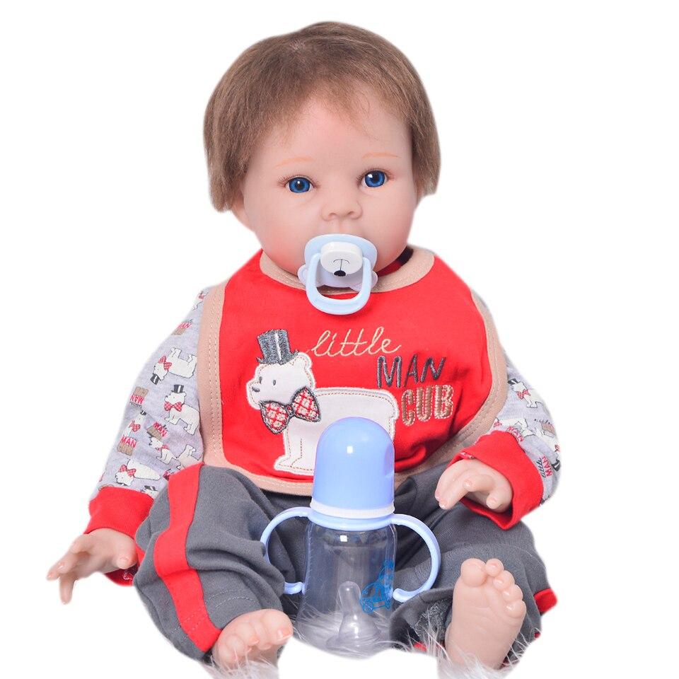 Realistic Newborn Dolls 22''55 cm Silicone Vinyl Reborn Babies Toys Mohair Rooted Lifelike Reborn bebe Stuffed Dolls XMAS Gifts цена 2017