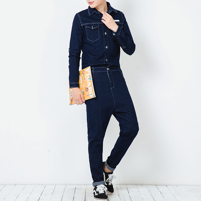 Men A Piece Jean Jumpsuit Spring Autumn Slim Fit Long Sleeve Denim Overalls Pant Male Fashion Casual Harem Trousers 2017 spring autumn fashion mens slim jean overalls casual bib jeans for men male ripped denim jumpsuit suspenders bibs