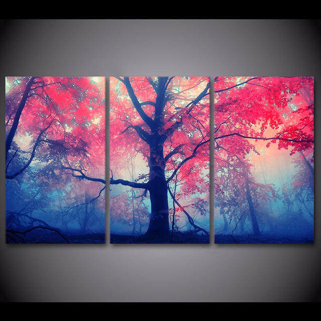 3 Pcs/Set Framed HD Printed Pink Maple Tree Canvas Picture Art ...