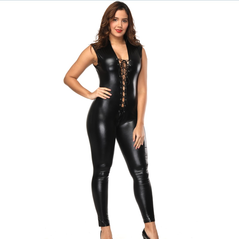 Show details for  Hot Sexy Lingerie Men Latex Catsuit Faux Leather Bondage Bodysuit Leotard Unitard Fetish Costume PU Lingerie 2018 Plus Size