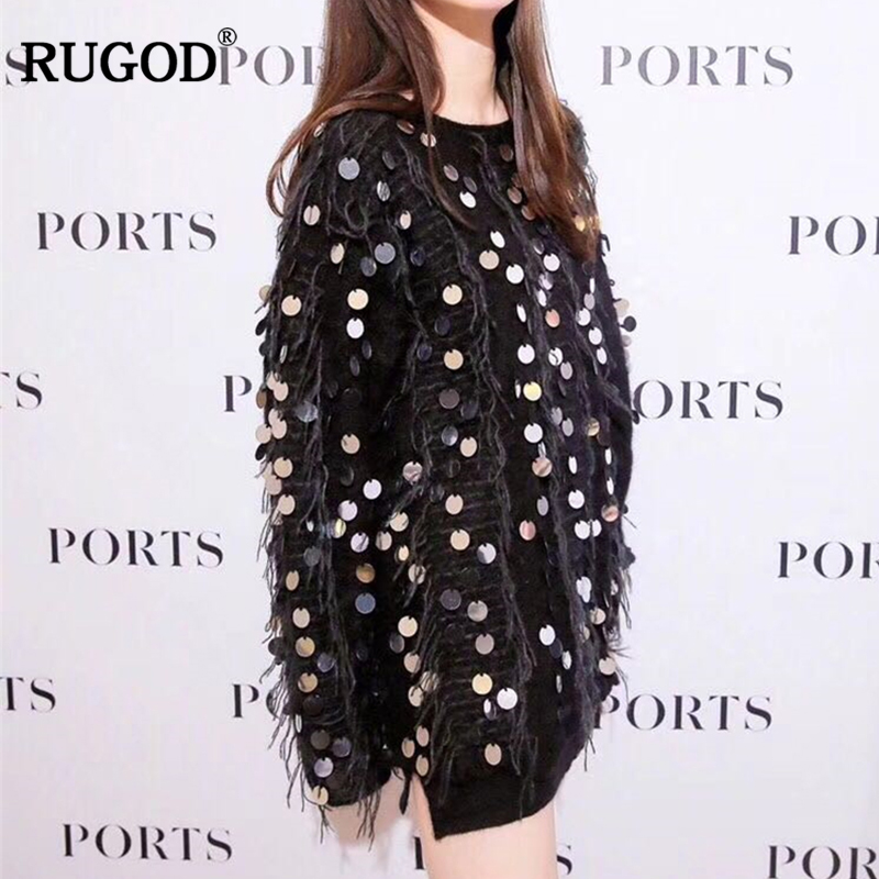 RUGOD Women Sweater and Pullovers Fashion Sequins Tassel Long Sleeve Knitted Sweater For Women Casual O
