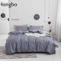 Hongbo Gray Grid Bedding Set 100% Cotton Twin Full Queen Size Bed Sheet Duvet Cover Set Pillowcase Soft Bedclothes