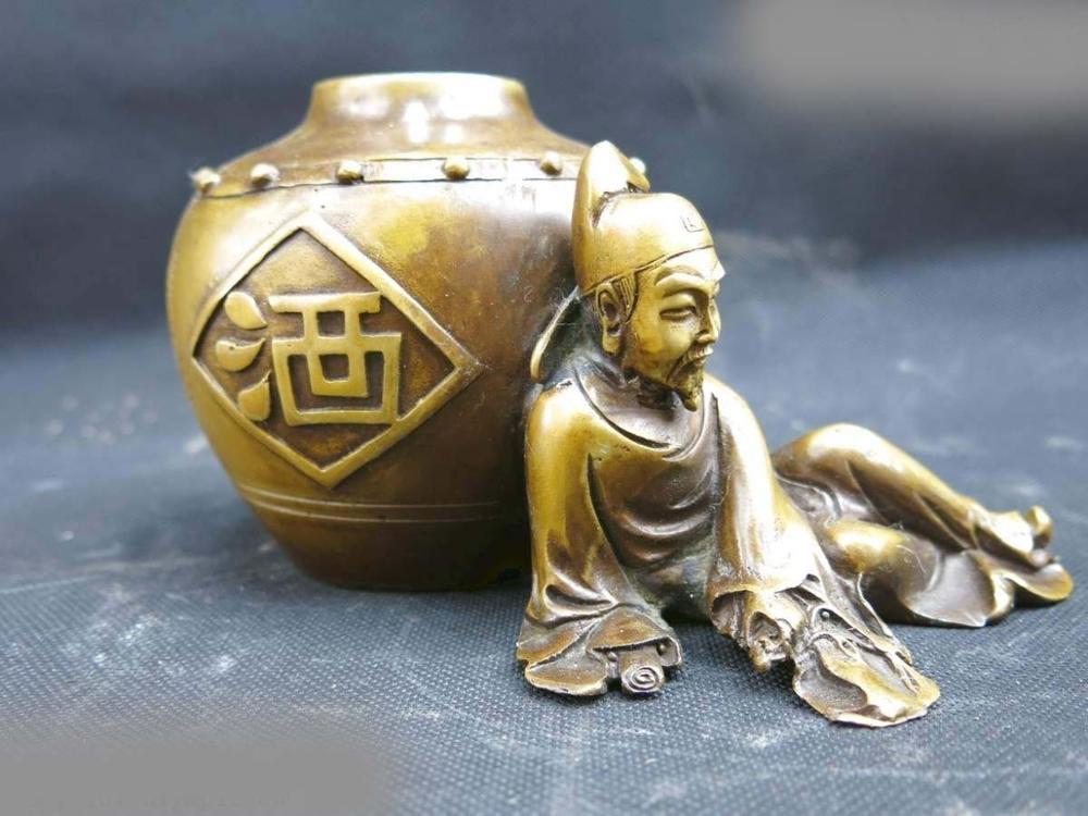 DS China Pure Brass Copper Carved Wine Jar Court Poet LI Bai Sculpture Statue