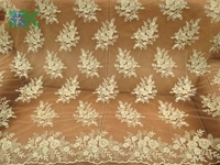 2016 Fashion Lace Fabric Gold For Wedding Dresses African Cord Lace Guipure Lace Mesh Fabric Embroidered