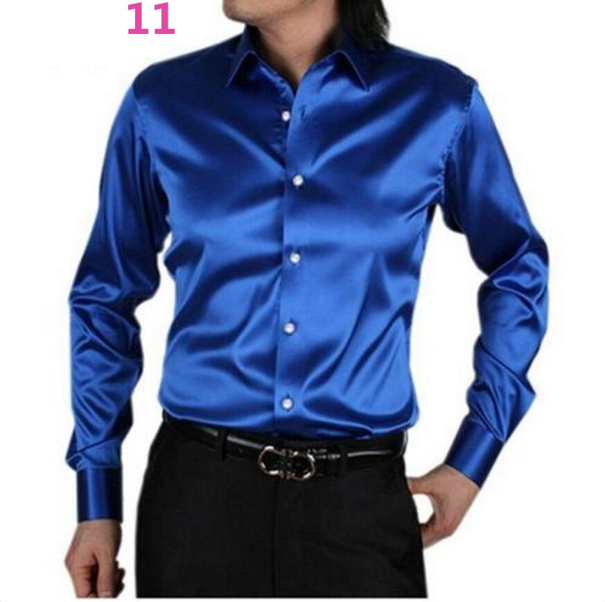 Mens Long Sleeve Silk Dress Shirts