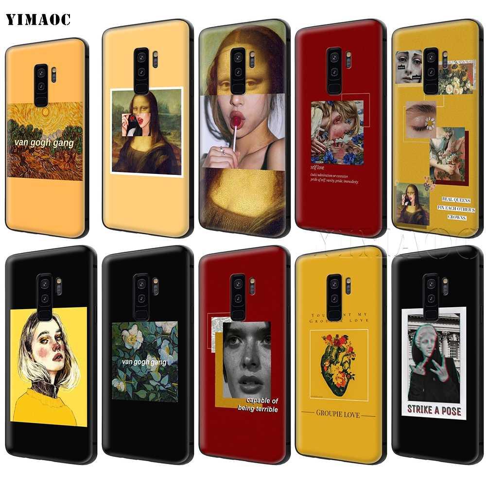 YIMAOC الفن الجمالي فان جوخ الموناليزا ديفيد لينة سيليكون حقيبة لهاتف سامسونج غالاكسي S6 S7 حافة S8 s9 plus A3 A5 A6 نوت 8 9