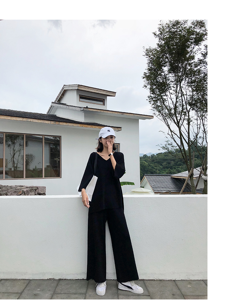 Knitting Female Sweater Pantsuit For Women Two Piece Set Knitted Pullover V-neck Long Sleeve Bandage Top Wide Leg Pants  Suit 30