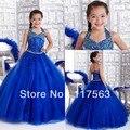 Красивые дети детская бальное платье холтер бисером длиной до пола королевский синий долгого девушки конкурс платья HT024