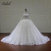 Eslieb Lace Applique Custom Made Wedding Dresses 2018 Luxury Elegant Sheer Back Gorgeous Bridal Dresses Vestido