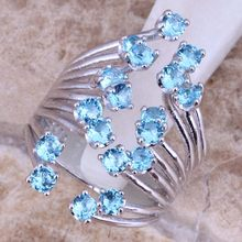 Cheerful Sky Blue Cubic Zirconia 925 Sterling Silver Ring For Women Size 5 / 6 / 7 / 8 / 9 / 10 / 11 S0452(China)