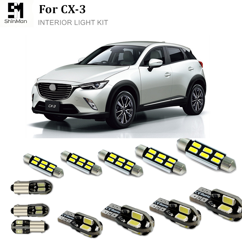 Shinman 6pcs reading Indoor lights Error Free White Interior LED Light Package Kit For <font><b>Mazda</b></font> cx-3 <font><b>cx3</b></font> <font><b>accessories</b></font> image