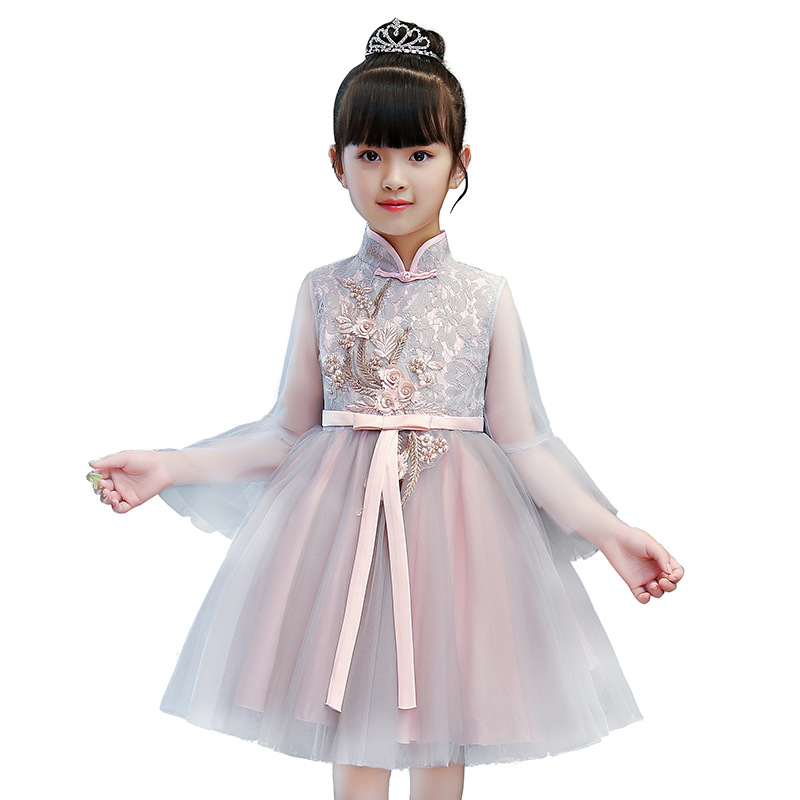 High quality Girls party birthday dresses flowers Kids princess long sleeve dress Children Carnival costumes for girls clothing puppchen fashion dress baby girls clothes carnival costumes children clothing princess party elsa long dresses for girls kids