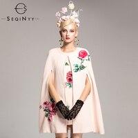 SEQINYY шерстяной костюм Dresses2018 осень зима женская новая модная Бисер роза цветы темперамент элегантный розовый плащ костюм из двух предметов