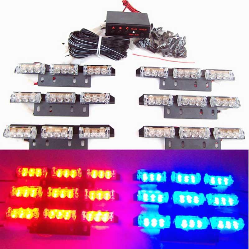 6X9 LED 54 LED Car Strobe Light Kit LED Car Flash Strobe   Light Car Truck Emergency Flashing Strobe Light  red blue amber white