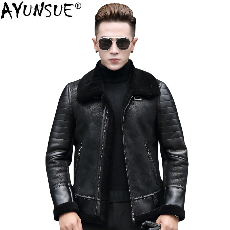 AYUNSUE Men's Genuine Leather Pilot Jacket Sheepskin Coat for Men Natural Wool Fur Coat Motorcycle Chaqueta Cuero Hombre KJ826