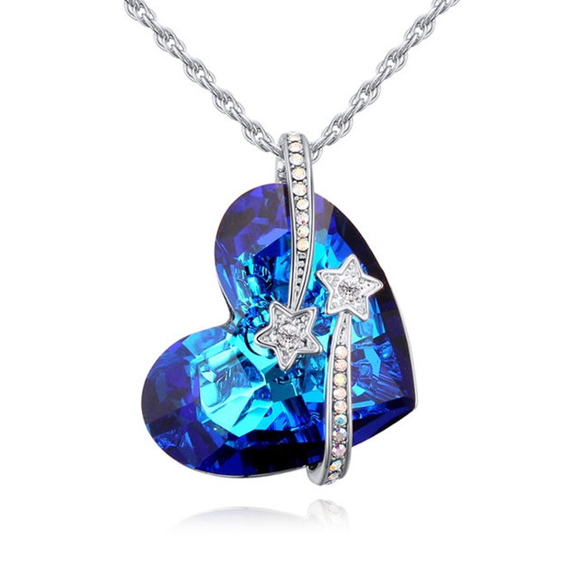 Latest luxury heart design pendants jewelry for women party accessories Austrian crystal necklaces for women jewelry accessories