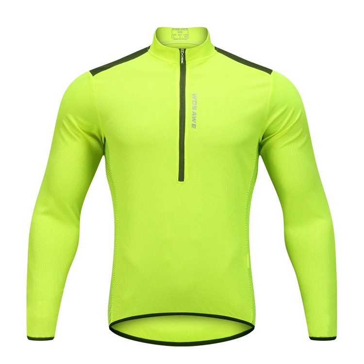 long sleeve sport jersey half zip breathable mtb bike ...