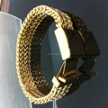 Manufacturers selling cool fashion men's 316L stainless steel jewelry gold bracelet (length: 21.5cm, width; 13mm). Ppss-031