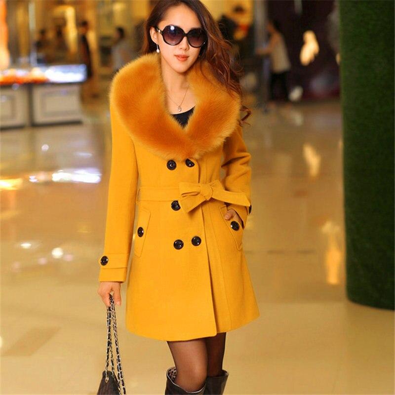 Femmes La yellow Vintage Laine En white red Taille 2018 Chaude Black Rose Grand Cheveux Manches Plus Élégant pink Collier Manteau gray Longues De Veste camel Mince r4fqrwWT