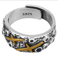 Tonglin silver 925 ring cool party jewelry with gold palted shooting star for boys and girls