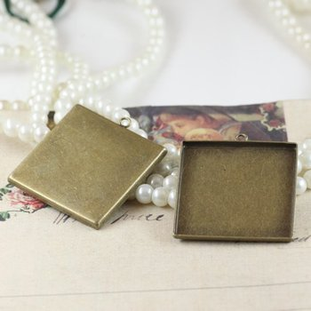 Free shipping!!! Lead Free 25mm bronze color square  Cameo Base Settings,pendant base,pendant blank