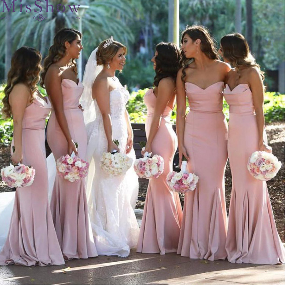 Custom-made Sexy Off Shoulder Bridesmaid Dresses 2019 Wholesale Price Pink Satin Long Mermaid Maid Of Honor Dress For Women